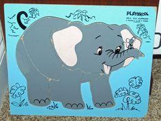 Vintage Wooden Playskool Puzzle - 165-3 - Elly Elephant - 6 Pieces Complete #Playskool