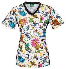 This Tooniforms by Cherokee V-Neck Knit Panel Print Scrub Top is a great choice for pediatric settings. Knit side panels create a flattering fit while Sesame St Disney Scrub Tops, Disney Scrubs, Stylish Scrubs, Cherokee Woman, Cute Scrubs, Sesame Street Characters, Scrubs Uniform, Cherokee Scrubs, Disney Clothes
