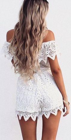 White Monroe Lace Playsuit | SaboSkirt