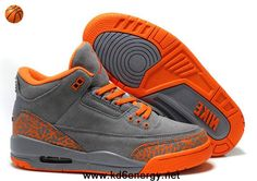 Women Air Jordans 3 III Fluff Grey Orange Shoes Store