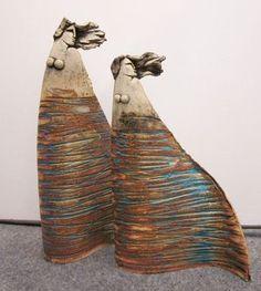 ANASTASAKI Ceramic Figure Sculptures Try texture/glaze on bottom of figures Sculptures Céramiques, Art Sculpture, Pottery Sculpture, Ceramic Clay, Ceramic Pottery, Pottery Art, Pottery Angels, Ceramic Sculpture Figurative, 3d Figures