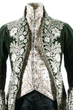 Ferrick Style A gentleman's embroidered green velvet court coat and matching ivory satin waistcoat, French, circa heavily embellished with floss silk flowerheads and foliage; together with a pair of later black satin breeches 18th Century Clothing, 18th Century Fashion, Vintage Outfits, Vintage Fashion, Edwardian Fashion, Historical Costume, Historical Clothing, 18th Century Costume, Court Dresses