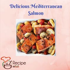 Veg Recipes, Salmon Recipes, Mediterranean Salmon, Cook At Home, Food Dishes, Food Videos, Tasty, Vegetables, Cooking