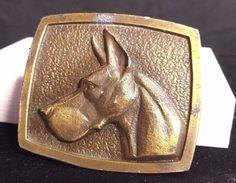 Vintage Doberman Bergamot D&E Elkhorn Wisconsin Brass Dog Belt Buckle 1975 D-50 #Bergamot #Vintage #Casual