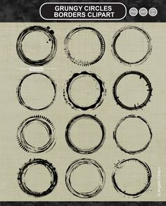 These handmade PNG illustrations and stamps (ABR brushes) of grunge circles would make perfect borders and stamps and lift any photograph, scrapbook