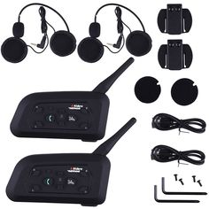 2 pcs V6 Pro Motorcycle Helmet Bluetooth Headset Intercom 6 Riders 1200M Wireless Intercomunicador BT Interphone