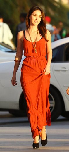Megan Fox Orange Maxi Dress | Via ~LadyLuxury~