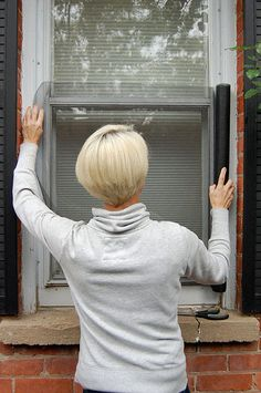 Window Screen Crafts How To Build Ideas Window Screen Crafts, Diy Screen Door, Metal Screen, Window Screens, Diy Door, Window Coverings, Window Treatments, Window Screen Replacement, Window Unit