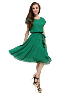 Green Classy Womens Short Sleeve Chiffon Tunic Midi Dress