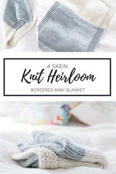 4 Skein Knit Heirloom Baby Blanket - super bulky yarn Knitted Throws, Knitted Baby Blankets, Baby Blanket Crochet, Crochet Baby, Knit Purl Stitches, Super Bulky Yarn, How To Purl Knit, Quick Knitting Projects, Knitting For Kids