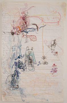 Kerttu Maukonen.  Thread, paper. 2013.  50x30 cm.