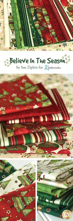 Believe In The Season by Sue Zipkin for Clothworks Fabrics is a holiday fabric collection available at Shabby Fabrics!