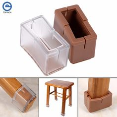 Fdit 8 Pcs//Set Chair Legs Cover Rectangle Furniture Legs Protector with Rubber Sole Clear