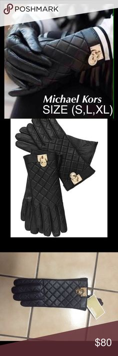CLOSET CLOSING Hamilton Lock Leather Gloves Impeccable style. The iconic Michael Michael Kors' Hamilton logo lock makes a striking statement at the cuff of these sleek, quilted leather gloves. Tech-friendly thumb and index fingers allow you to dial, text and listen to playlist faves without feeling the chill or removing your gloves. Quilted design. Gold-tone Hamilton logo lock at cuff. Fabric Content: Shell: leather: lining: polyester. Product Care: Professional leather clean. Small, Large…