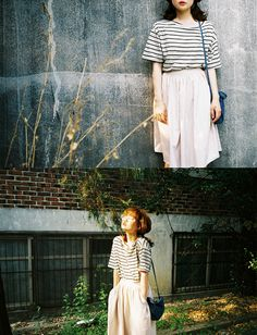 style, photography, long skirt, summer, outfit, stripes, fashion
