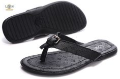 expensive flip flops | Less expensive Louis Vuitton Leather Flip Flops black with metal ...