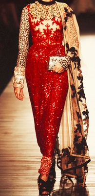 Gushing over this gorgeously embroidered Sabyasachi sari-like dress.