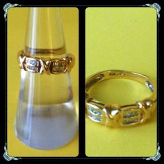 10K Yellow Gold Diamond With Baguette Ring ⭐️10K Yellow Gold Ring with Baguettes Stones. Stamped 10K. Reasonable gold weight. Pre-owned. All stones are intact. Sizeable 6. Hugs & Kisses Design. 2.9 grams per my jeweler. Please see pictures for more details and please feel free to ask any questions. Thanks you. Jewelry Rings