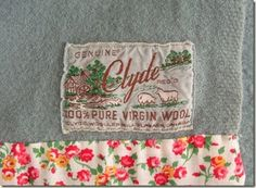 Calico edging to a wool blanket from Cozy Made Things blog