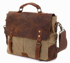 Laptop Messenger Bags, Canvas Leather Vintage Cross Body Shoulder Bag Briefcase Handbag Fit 14 inch Laptop for men women * See this awesome image  : Christmas Luggage and Travel Gear