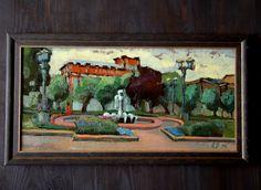 """Oil painting """"The Park"""", Park cityscape, Framed artwork, Brush strokes, Wall Decor, Framed wall art, Urban Landscape, Original, Art"""