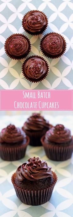 Small batch chocolate cupcakes - for those times you really feel like a chocolate cupcake but don't need (Small Chocolate Desserts) Small Desserts, Köstliche Desserts, Delicious Desserts, Holiday Desserts, Plated Desserts, Chocolate Muffins, Chocolate Desserts, Chocolate Mini Cupcakes, Chocolate Chocolate