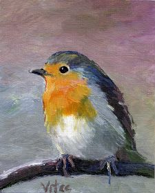 Birds painting by Vitec: All Christmas Robins Bird Painting Acrylic, Bird Paintings On Canvas, Bird Artwork, Mini Paintings, Watercolor Bird, Watercolor Paintings, Watercolor Ideas, Watercolors, Rock Painting Designs