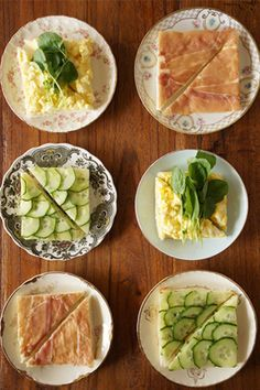 The perfect party food for a lady's lunch? Gorgeous tea sandwiches! We would cut them once more so everyone gets a little variety! Cucumber, prosciutto, watercress and egg salad. Yum!