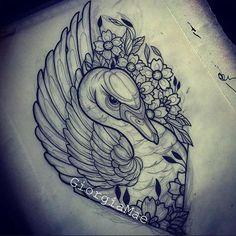 Afbeeldingsresultaat voor neo traditional black swan tattoo