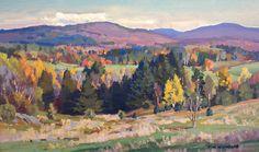 """Vermont Landscape,"" T.M. Nicholas, oil, 8"" x 13"", Green Mountain Fine Art Gallery."