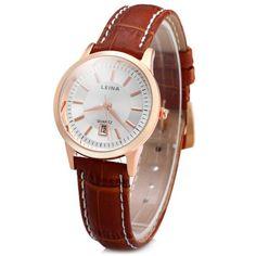 c3f4749648e Leina 1553 Women Quartz Watch Day Genuine Leather Band Round Dial