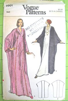 Vogue 8501 (1970's?) Misses Loungewear: Loose-fitting evening length caftan has V-neckline, self or contrast front & back center panels. With or without purchased braid trim. 6pc. pattern (2 styles). Soft fabrics such as Med. Wt. Crepe, Silk Linen, Lame, Surah, Pongee, Knit Jersey, Lt. Wt. Wool. *OK FOR KNITS OR WOVENS.*