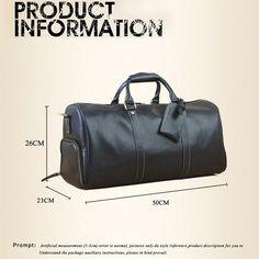 c934ffa34a81 Genuine Leather Travel Bag Men Fashion Black Travel Duffel Bag Big Cow  Leather Carry On Luggage
