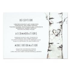 Rustic Birch Tree Watercolor Wedding Information Card