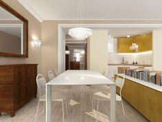 W jadalni połączono minimalistyczne meble z kolonialnymi – Tissu. W jadalni w apartamencie znajduje się designerska lampa  Valentine Flat Suspended z  Moooi. Beżowa kolorystyka skontrastowana jest żółtymi kolorami, a styl prosty z kolonialnymi meblami. Uzyskujemy w sumie nowoczesne i zachęcające do odpoczynku wnętrze. http://www.tissu.com.pl/zdjecia/272