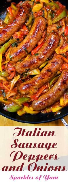 Italian Sausage Peppers and Onions - Quick easy and delicious one skillet dinner! This recipe for Italian Sausage Peppers and Onions is so versatile. You can have it over mashed potatoes pasta polenta cauliflower rice or as an Italian sub sandwich. Baked Ziti With Sausage, Sausage Recipes For Dinner, Best Dinner Recipes, Italian Dinner Recipes, Sausage Rice, Healthy Sausage Recipes, Italian Entrees, Healthy Italian Recipes, Sausage Gumbo
