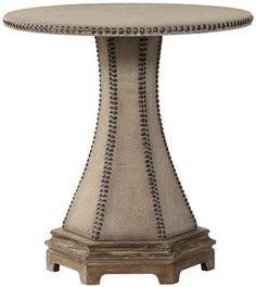 Make a statement as they walk through your front door with this great piece.  Its perfect for your entryway.  FAB for only $318.00 !! Restoration French Industrial Style Hardware Burlap Nailhead Accent End Table