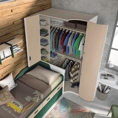 Tiny Bedroom Design, Kids Bedroom Designs, Small Room Design, Kids Room Design, Small Room Bedroom, Closet Designs, Closet Bedroom, Studio Apartment Design, Studio Apartment Decorating