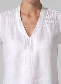 MISSY Clothing - Linen Tiered Pleat Blouse