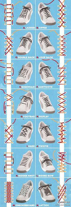 手工DIY 14种系鞋带的方法~~
