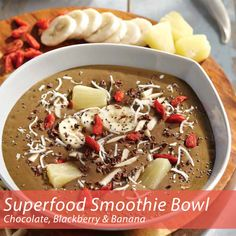 Chocolate Blackberry Banana Superfood Smoothie Bowl