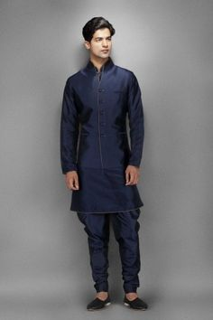 Navy blue silk kurta with waistcoat This Navy blue silk kurta come with a dupion waistcoat and breeches. The kurta has antique metallic piping. D'love to rock that! Indian Man, Indian Groom, Indian Ethnic, Indian Dresses, Indian Outfits, Mens Fashion, Fashion Outfits, Men's Outfits, Fasion