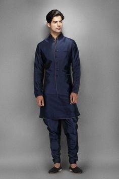Navy Blue Silk Kurta with Waistcoat