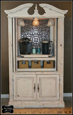 Armoire Turned Coffee Bar however.... this will be my wine/alcohol bar  Hang wine glasses from the top.