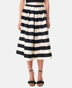 Tibi Stripe Silk Midi Skirt