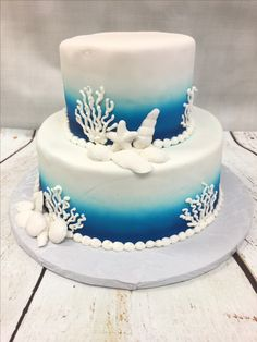 Royal Blue And Turquoise Ombre Seashell Wedding Cake Delivered In Tampa Florida