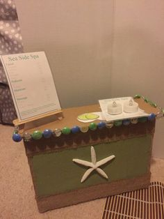 AG doll spa desk made from an Amazon box!
