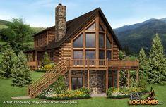 A floor plan by Golden Eagle Log Homes. Golden Eagle Log Homes has floor plans. Log Cabin Floor Plans, Log Home Plans, Cabin House Plans, House Floor Plans, Log Cabin Living, Log Cabin Homes, Log Cabins, Mountain Cabins, Casas Country