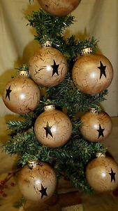 Primitive Christmas Decorations to Make | PRIMITIVE-NOT-WOOD-GLASS-BALL-CHRISTMAS-TREE-ORNAMENTS-TAN-CRACKLE ...