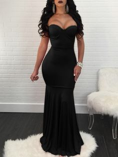 Shop Strapless Mermaid Maxi Bodycon Dress right now, get great deals at Joyshoetique.